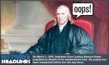 """塞缪尔·蔡斯是美国唯一一位被弹劾成功的大法官,可谓""""空前绝后"""""""